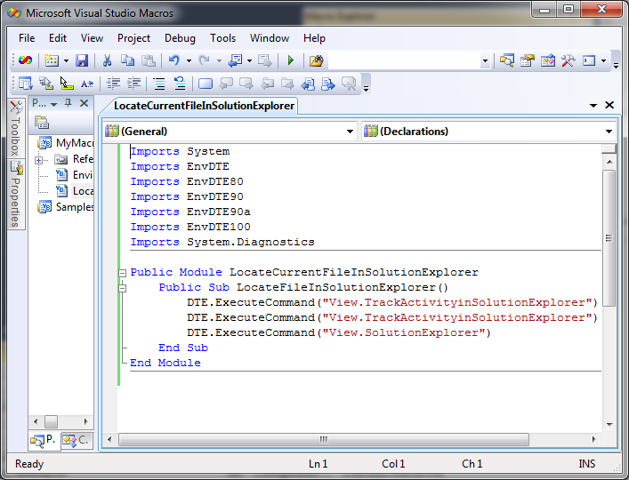 Visual Studio Macro Editor