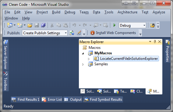 Visual Studio Macro Explorer - Renamed Macro