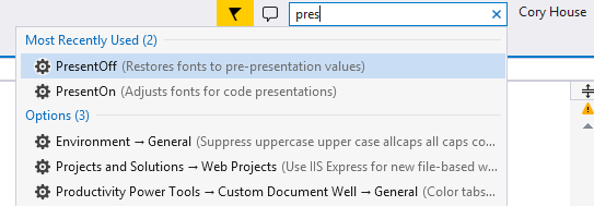 Enable Visual Studio Presentation Mode via Quick Launch