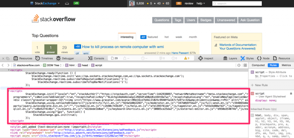 Note the chunk of JSON. This is simply a server-side class that's been serialized to JSON and injected on the page.